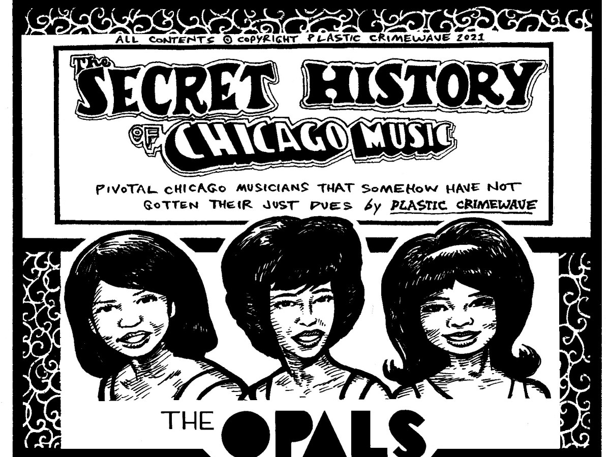 An illustration of girl group the Opals embedded in the title card for the Secret History of Chicago Music