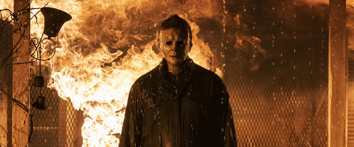 Michael Myers in front of explosive flames