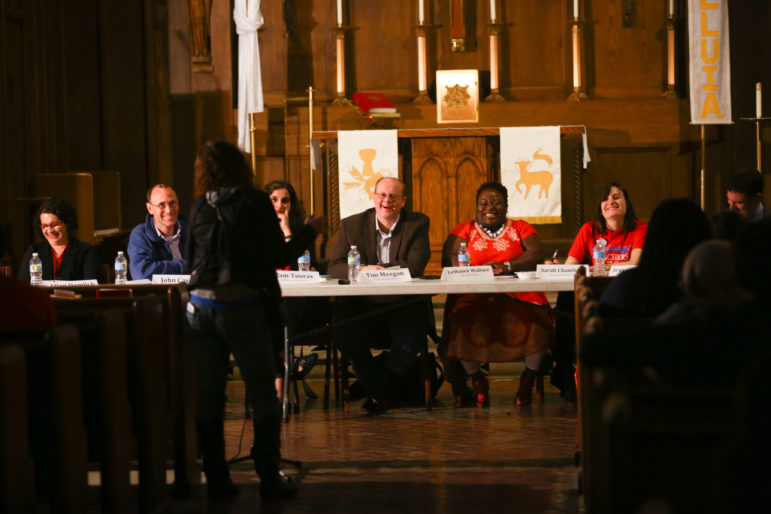 Chicago Teachers Union bargaining team members listen to parents express their primary concerns at a forum sponsored by Parents 4 Teachers at Luther Memorial Lutheran Church on May 19, 2015.
