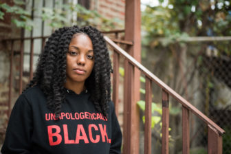 Janae Bonsu, co-chair of the Black Youth Project 100, outside of her apartment.