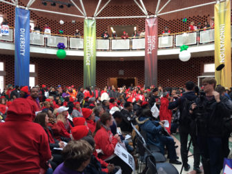 Hundreds of teachers, professors and students rallied at Chicago State University.