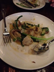 Housemade ricotta-stuffed tortellacci with summer vegetables and truffle shavings