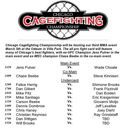 Chicago Cagefighting Championship, March 5th card