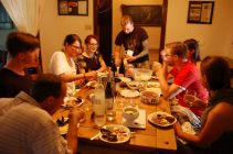 The group enjoying the delicious food