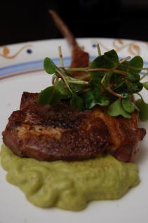 Jason's Lamb chops with watercress-hazelnut sauce and micro radish greens