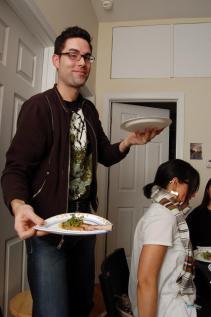 Jason serving his Lamb chops with watercress-hazelnut sauce and micro radish greens