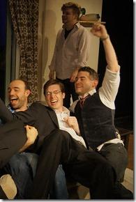 "Zach Finch, Beau Forbes, Christopher Hahn, John Mark Jernigan, Andrew Marikis, Ken Miller, Mattew Webb and Dan Wenzel star in Redtwist Theatre's ""Men Exposed"" by Scott Woldman, directed by Matt Dominguez. (photo credit: Jan Ellen Graves)"