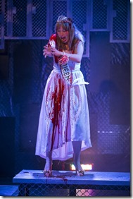 """Callie Johnson stars as Carrie in Bailiwick Chicago's """"Carrie the Musical"""" by Michael Gore, Dean Pitchford and Lawrence D. Cohen, directed by Michael Driscoll. (photo credit: Michael Brosilow)"""