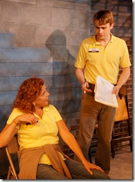 """Jacqueline Grandt and Aaron Kirby star as Margie and Stevie in Redtwist Theatre's """"Good People"""" by David Lindsay-Abaire, directed by Matt Hawkins. (photo credit: Jan Ellen Graves)"""