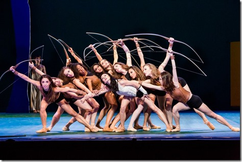 """Huntresses from Joffrey Ballet Chicago's """"Sylvia,"""" choreographed by John Neumeier, music by Léo Delibes. (photo credit: Cheryl Mann)"""