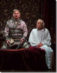 """Joe Foust and Larry Yando in Goodman Theatre's """"A Christmas Carol"""" by Charles Dickens, adapted by Tom Creamer, directed by Henry Wishcamper. (photo credit: Liz Lauren)"""