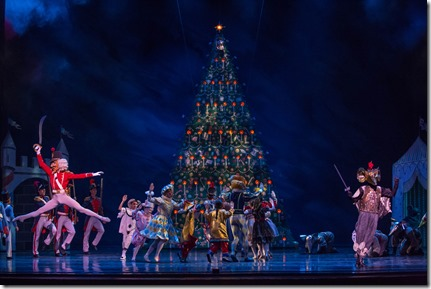 """Battle Scene from Joffrey Ballet's """"The Nutcracker,"""" conceived and directed by Robert Joffrey. (photo credit: Cheryl Mann)"""