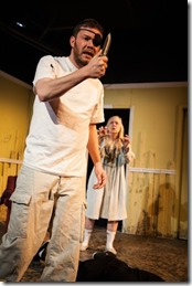 """Gage Wallace and Barbara Button star in Red Theater's """"Year of the Rooster"""" by Eric Dufault, directed by Carrie Lee Patterson. (photo credit: Austin D. Oie)"""