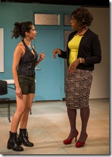 """Monica Orozco and Dexter Zollicoffer star in Northlight Theatre's world premiere of """"Charm"""" by Philip Dawkins."""