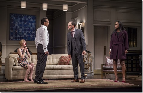 "Nisi Sturgis, Bernard White, J. Anthony Crane and Zakiya Young in Goodman Theatre's ""Disgraced"" by Ayad Akhtar, directed by Kimberly Senior (photo credit: Liz Lauren)"
