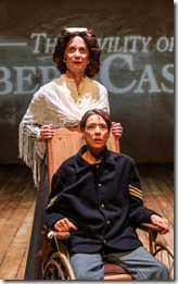 Katherine Condit as and Delia Kropp star as Old Albert and Nurse in Civility of Albert Cashier, Permoveo