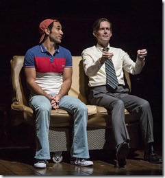 Joe Lino (Roy) and Rob Lindley (Bruce Bechdel) star in Fun Home, Victory Gardens