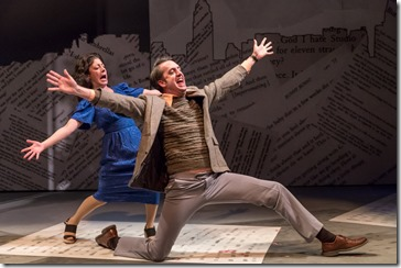 Dana Tretta as Gilda Radner and Jackson Evans as Alan Zweibel in Bunny Bunny, Mercury Theatre