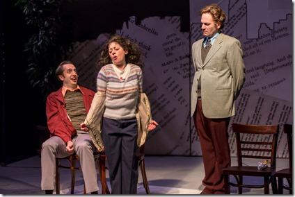 Jackson Evans as Alan Zweibel, Jason Grimm, and Dana Tretta as Gilda Radner in Bunny, Bunny at Mercury Theatre Chicago