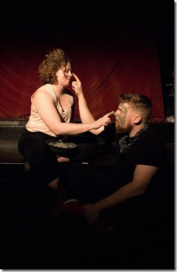 Kendra Miller and Trevor Dawkins   star in A STORY TOLD IN SEVEN FIGHTS from The Neo-Futurists