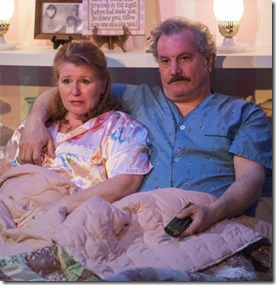 Tara Mallen and Keith Kupferer star as Della and Tim in The Cake at Rivendell Theatre