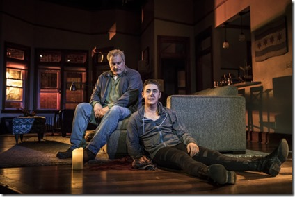 Keith Kupferer (Roger) and Jeff Kurysz (Alex) star in Support Group for Men, Goodman Theatre