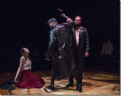 Ilse Zacharias, Drew Schad and Joseph Wiens star in Crime and Punishment, Shattered Globe Theatre