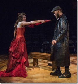 Ilse Zacharias and Drew Schad star in Crime and Punishment, Shattered Globe Theatre