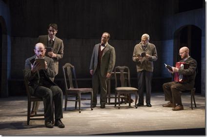 Benjamin Magnuson, Noah LaPook, Andrew White, David Darlow and Matt Deitchman star in Indecent, Victory Gardens