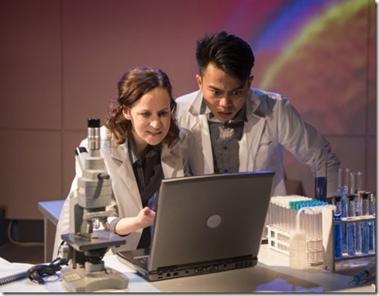Ashley Neal and Glenn Obrero star as Amy and Danny in Scientific Method at Rivendell Theatre