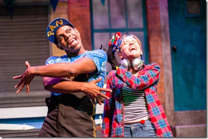 Breon Arzell and Ella Raymont star in Bros do Prose Peter Pan at Mercury Theater Chicago