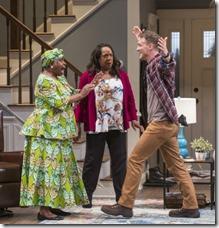 Cheryl Lynn Bruce (Anne), Jacqueline Williams (Margaret Munyewa) and Luigi Sottile (Brad) star in Familiar
