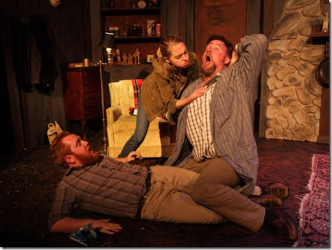 Dylan Todd, Phoebe Moore and Robert Tobin star in Lonesome West, AstonRep Theatre