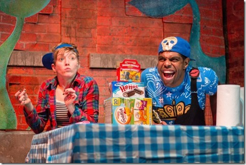 Ella Raymont and Breon Arzell star in Bros do Prose Peter Pan at Mercury Theater