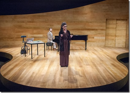 Janet Ulrich Brooks and Stephen Boyer star as Maria Callas and Manny in Master Class, TimeLine Theatre