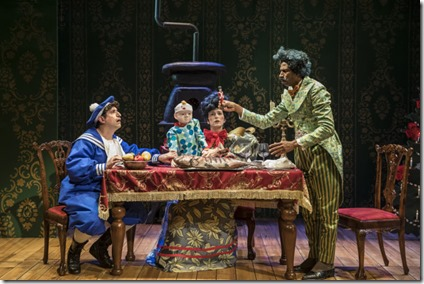 John Gregorio, Kasey Foster, and Anthony Irons star in The Steadfast Tin Soldier, Lookingglass Theatre