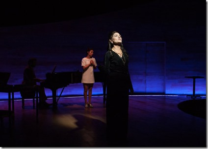 Maria Callas (Janet Ulrich Brooks) with Sophie (Molly Hernández) in Master Class, TimeLine Theatre