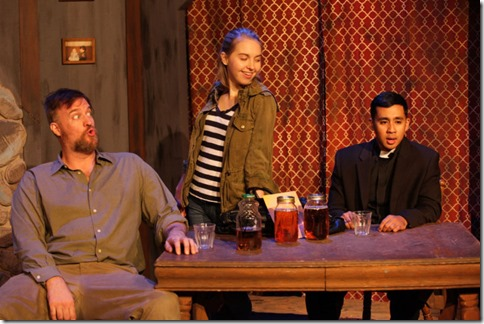 Robert Tobin, Phoebe Moore and Mark Tacderas star in The Lonesome West, AstonRep Theatre