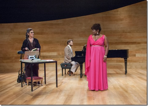 Soprano Sharon (Keirsten Hodgens) with Maria Callas (Janet Ulrich Brooks) and Manny (Stephen Boyer) in Master Class