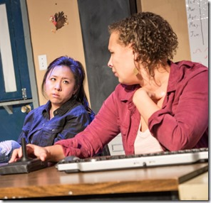 Stephanie Shum and Carmen Molina star as T and Karina in Plainclothes, Broken Nose Theatre