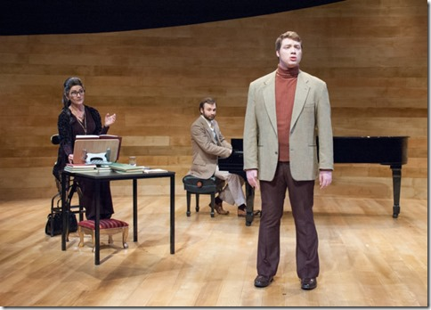 Tenor Tony (Eric Anthony Lopez) with Maria Callas (Janet Ulrich Brooks) and Manny (Stephen Boyer) in Master Class
