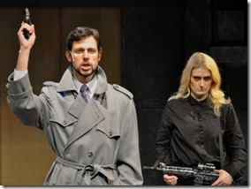 Gary Fields and Erin Long star as Hans Olo and Terrorist Tony in Yippee Ki-Yay Christmas Die Hard Musi