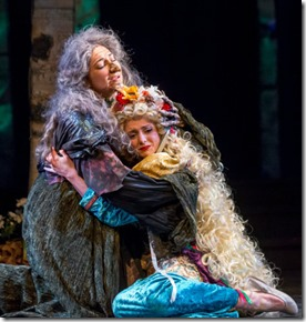 Michelle Jasso (Witch) and Sarah Wasserman (Rapunzel) star in Into the Woods, Music Theater Works