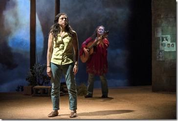 Sandra Delgado (Yoli) and Laura Crotte (Desamaya) star in La Ruta at Steppenwolf Theatre