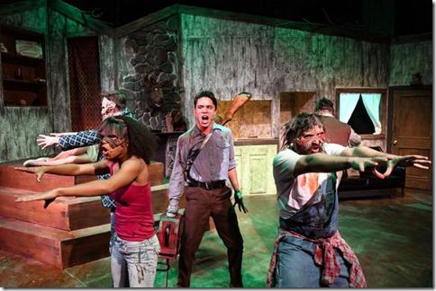 Josh Kemper, Kirby Gibson, Jordan Dell Harris, Shane Roberie and Robert Quintanilla star in Evil Dead
