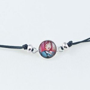 Chica Manga Bracelet slide knot Smilling Moka dark grey cord with round beads