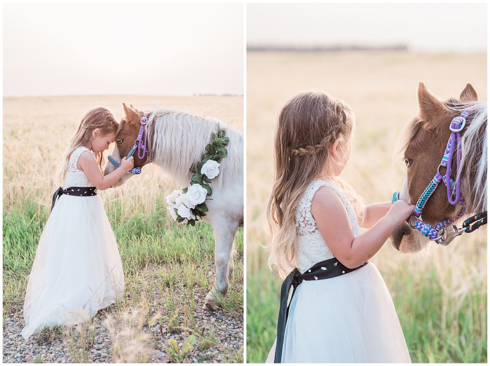 Sunset photos with a little girl & her pony