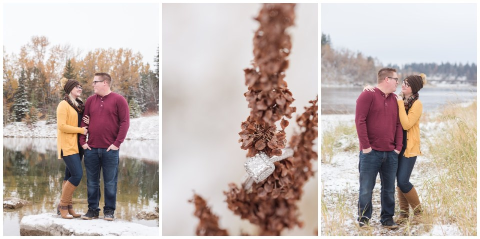 Winter in Fall Engagement Photos in Red Deer