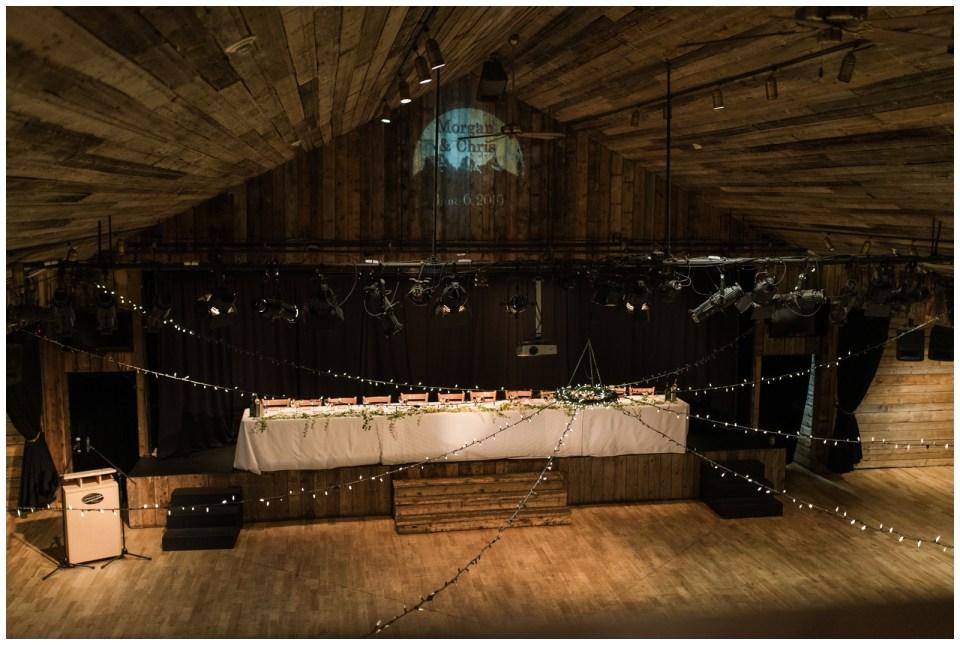 Overcast day mountain wedding in Canmore Alberta at Cornerstone Theatre