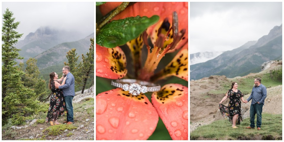 Rainy day Abraham Lake engagment session